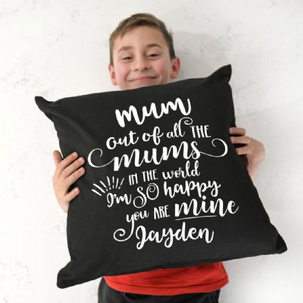 Personalised Happy You Are My Mum Black Cushion